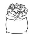 harvest of bag with seasonal fruits vector image vector image