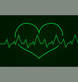 heartbeat cardiogram graph green line in heart vector image vector image