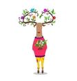 hipster deer witj flowers vector image