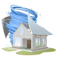 Hurricane destroyed roof of house vector image