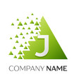 letter j logo symbol in colorful triangle vector image vector image