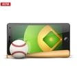 Mobile phone with baseball ball and field on the vector image vector image