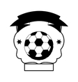 monochrome heraldic with soccer ball and ribbon vector image vector image