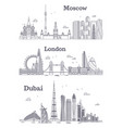 moscow london dubai linear landmark vector image