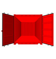 open shipping container isolated on white vector image