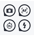 Photo camera icon Flash light and autofocus AF vector image vector image