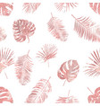rose gold tropical palm leaves seamless pattern vector image vector image