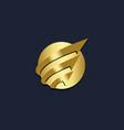 round globe orbit arrow gold logo vector image