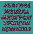Russian comics alphabet isolated on green vector image