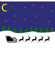 santa claus rides on deer in the woods at night vector image