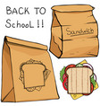 school lunch food boxes and sandwich flat vector image