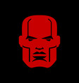 serious face logo man head emblem red manly mask vector image