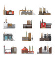 set of industrial factory and plant buildings vector image vector image