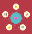 set of infant icons flat style symbols with baby vector image