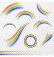 Set of realistic rainbows in different shape on vector image vector image