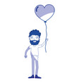 silhouette man with beard and heart balloon in the vector image vector image