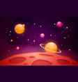 space background with red planet landscape vector image