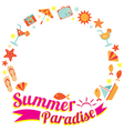 Summer Flat Icons and Text Heading Wreath vector image vector image