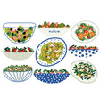 various salads set appetizing healthy dishes with vector image