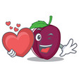 with heart plum mascot cartoon style vector image vector image