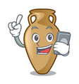 with phone amphora character cartoon style vector image vector image