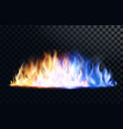 yellow and blue fire flame vector image vector image