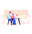 young man sitting at table in restaurant or cafe vector image vector image