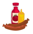 Mustard sausage and ketchup or sauce bottle - vector image