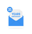 35 years anniversary missive in dark blue letter vector image