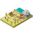 3d isometric territory for camping vector image vector image