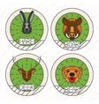 Animals line logo Set Nature Symbol Deer Bear Hare vector image vector image