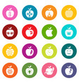 apple logo icons set colorful circles vector image vector image