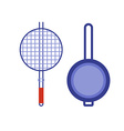 barbecue brazier and pan flat icons kitchen vector image