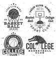basketball college club badge concept vector image vector image