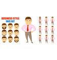 businessman face set cartoon character vector image