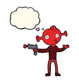 cartoon alien with ray gun with thought bubble vector image