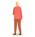 character back view stands with a tablet vector image