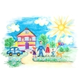Childrens Sketch With Happy Family vector image vector image