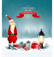 christmas background with presents and santa vector image vector image