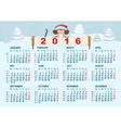 Christmas calendar Monkey in santa hat symbol vector image