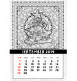 christmas tree doodle pattern calendar september vector image
