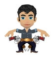 Cute brunette man with weapon character vector image vector image