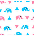 cute cartoon elephants and triangles seamless vector image
