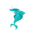 cute shark cartoon character in water splashes vector image