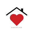 donate symbol with red heart and roof vector image