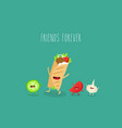 doner tomato garlic friends forever vector image vector image
