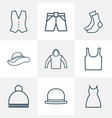 dress icons line style set with underwear panama vector image