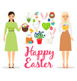 easter flat elements vector image vector image