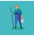 Farmer with pitchfork and bucke vector image