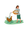 farmer woman take eggs in basket from chicken and vector image vector image